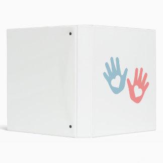 Baby hands hearts 3 ring binder