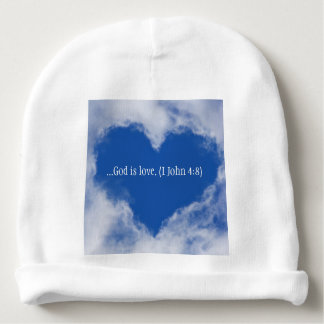 """Baby hat with words """"God is Love"""" & Sky Heart Baby Beanie"""
