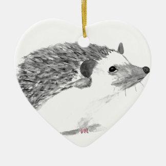Baby hedgehog animal ceramic ornament