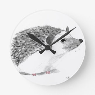 Baby hedgehog animal round clock