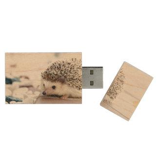 Baby Hedgehog Wood USB 2.0 Flash Drive
