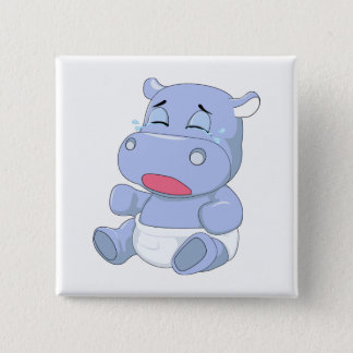 Baby Hippo Crying 2 Inch Square Button