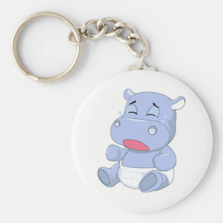 Baby Hippo Crying Basic Round Button Keychain