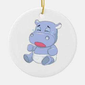 Baby Hippo Crying Round Ceramic Ornament