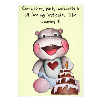"Baby Hippo First Birthday Invitation` 5"" X 7"" Invitation Card"