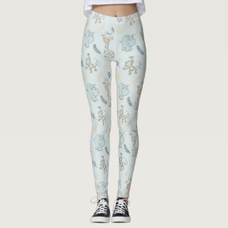 Baby Hippo Giraffe Monkey Leggings