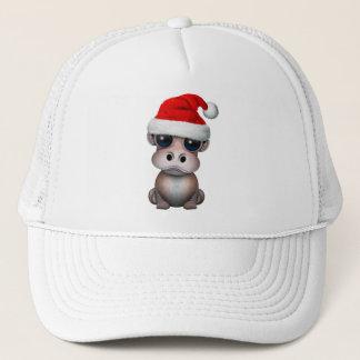 Baby Hippo Wearing a Santa Hat