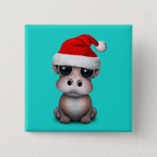 Baby Hippo Wearing a Santa Hat 2 Inch Square Button