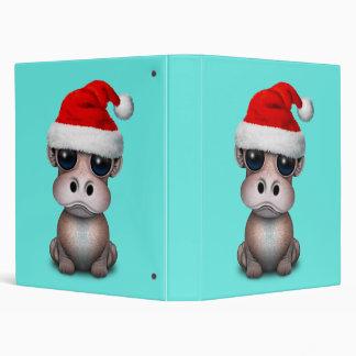Baby Hippo Wearing a Santa Hat 3 Ring Binder