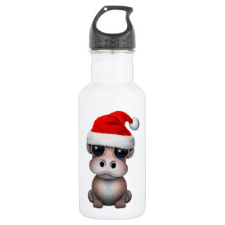 Baby Hippo Wearing a Santa Hat 532 Ml Water Bottle
