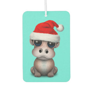 Baby Hippo Wearing a Santa Hat Car Air Freshener