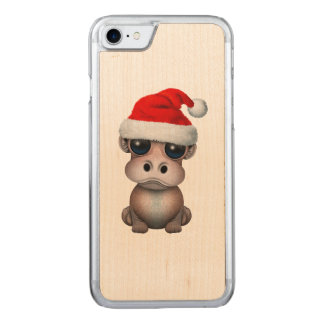 Baby Hippo Wearing a Santa Hat Carved iPhone 8/7 Case