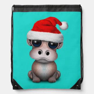 Baby Hippo Wearing a Santa Hat Drawstring Bag
