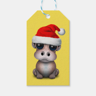 Baby Hippo Wearing a Santa Hat Gift Tags
