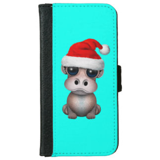 Baby Hippo Wearing a Santa Hat iPhone 6 Wallet Case