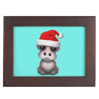 Baby Hippo Wearing a Santa Hat Keepsake Box