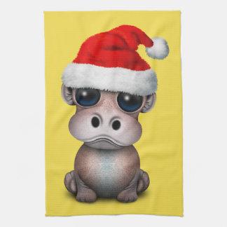 Baby Hippo Wearing a Santa Hat Kitchen Towel