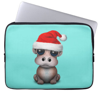Baby Hippo Wearing a Santa Hat Laptop Sleeve