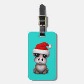 Baby Hippo Wearing a Santa Hat Luggage Tag
