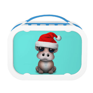 Baby Hippo Wearing a Santa Hat Lunch Box
