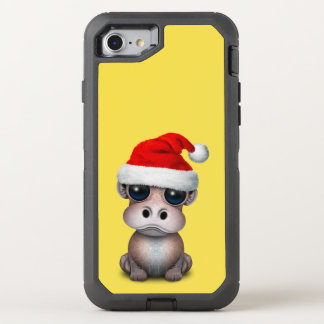 Baby Hippo Wearing a Santa Hat OtterBox Defender iPhone 8/7 Case