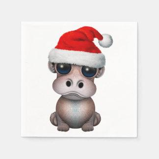Baby Hippo Wearing a Santa Hat Paper Napkin