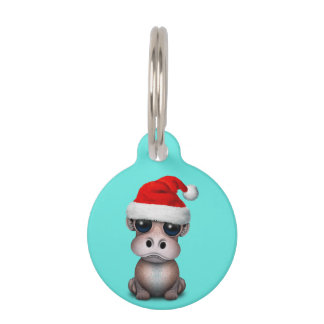 Baby Hippo Wearing a Santa Hat Pet Name Tag