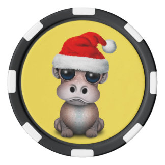 Baby Hippo Wearing a Santa Hat Poker Chips