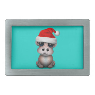 Baby Hippo Wearing a Santa Hat Rectangular Belt Buckle