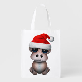 Baby Hippo Wearing a Santa Hat Reusable Grocery Bag