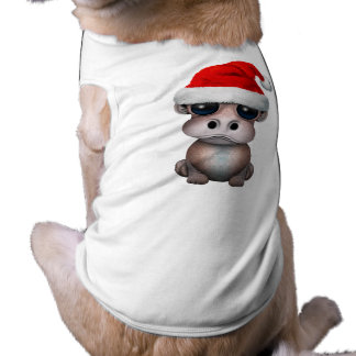 Baby Hippo Wearing a Santa Hat Shirt