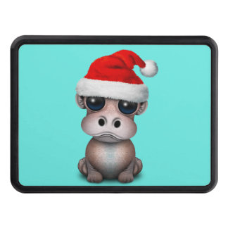Baby Hippo Wearing a Santa Hat Trailer Hitch Cover