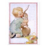 Baby hugging Easter Bunny Post Card