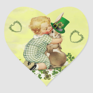 BABY HUGGING RABBIT,HEARTS IRISH ST.PATRICK'S DAY HEART STICKER