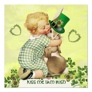 BABY HUGGING RABBIT IRISH ST.PATRICK'S DAY PARTY CARD