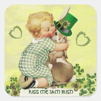 BABY HUGGING RABBIT IRISH ST.PATRICK'S DAY PARTY SQUARE STICKER