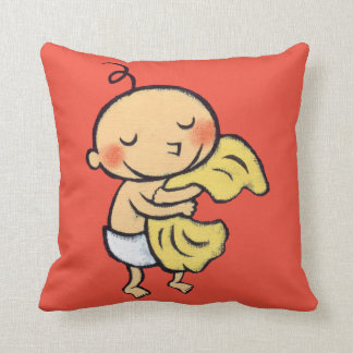 Baby Hugging Soft Yellow Blanket Throw Pillow