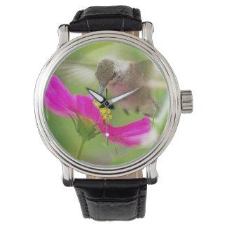 Baby Hummingbird Daisy Flowers Wildlife Animal Wrist Watches