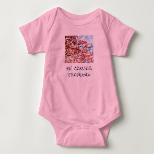 Baby humour I'm Calling Grandma Floral Baby Bodysuit