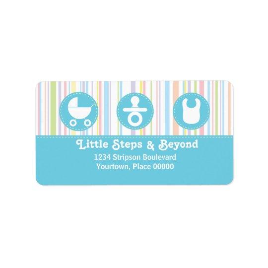 Baby Icon Trio Stripes Blue Address Label