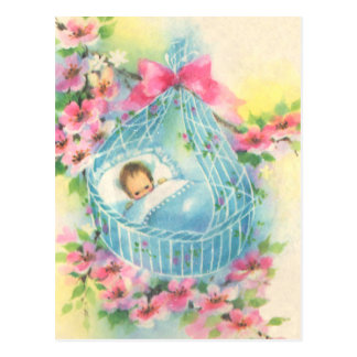 Baby in a Blue Basket Postcard