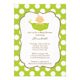 Baby in a Pea Pod Boy Baby Shower Invitation