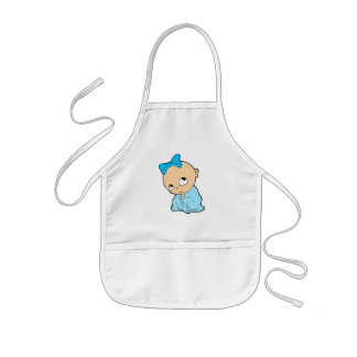 Baby in blue with bow kids' apron