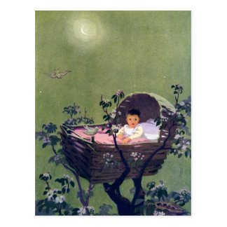 Baby in Cradle in Tree Lullaby Postcard