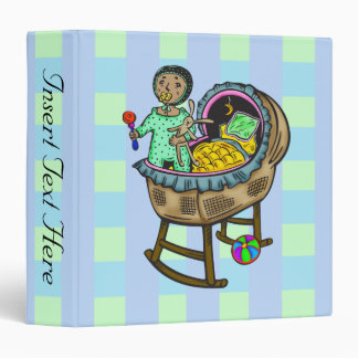Baby In Crib With Toys 3 Ring Binders