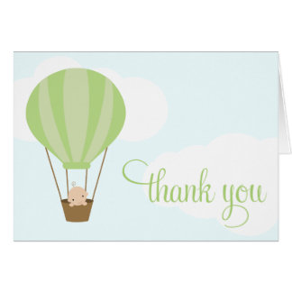 Baby in Green Balloon Thank You Card