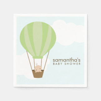 Baby in Green Hot Air Balloon Baby Shower Paper Napkins