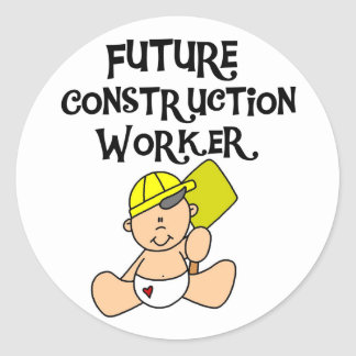 Baby in Hardhat Construction Classic Round Sticker
