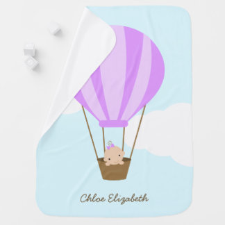 Baby in Hot Air Balloon {lavender} Baby Blanket
