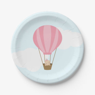 Baby in Pink Hot Air Balloon Baby Shower Paper Plate